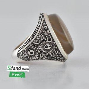 انگشتر دست ساز عقیق جزع رکاب نقره ۴۰۰۳
