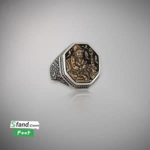 انگشتر دست ساز قلمزنی نقره و مسوار ۴۰۰۶