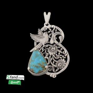گردنبند زنانه دست ساز قلمزنی نگین فیروزه ۵۰۰۳