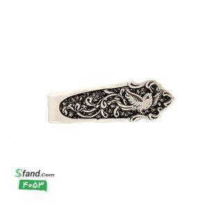 گیره کراوات دست ساز قلمزنی نقره گل و مرغ ۴۰۵۳