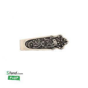 گیره کراوات دست ساز قلمزنی نقره گل و مرغ ۴۰۵۴