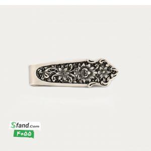 گیره کراوات دست ساز قلمزنی نقره گل و بته ۴۰۵۵
