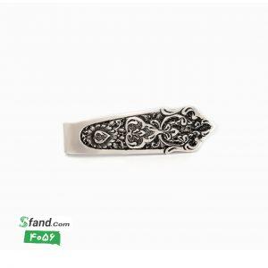گیره کراوات دست ساز قلمزنی نقره گل و بته ۴۰۵۶