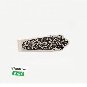گیره کراوات دست ساز قلمزنی نقره گل و بته ۴۰۵۷