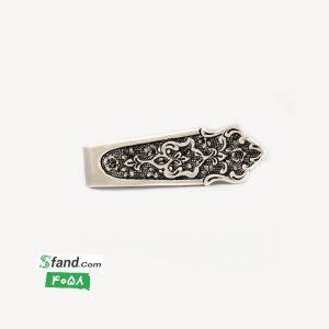 گیره کراوات دست ساز قلمزنی نقره گل و بته ۴۰۵۸