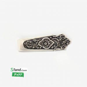 گیره کراوات دست ساز قلمزنی نقره گل و بته ۴۰۶۲
